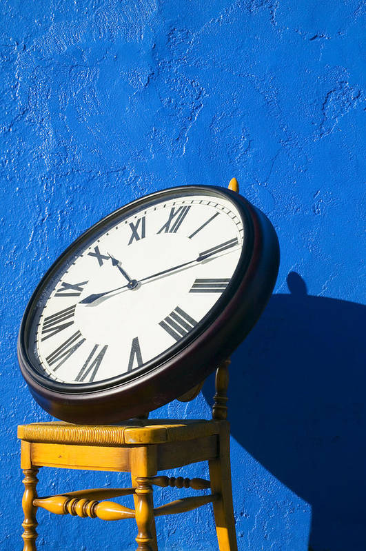 Clock Poster featuring the photograph Large Clock On Yellow Chair by Garry Gay
