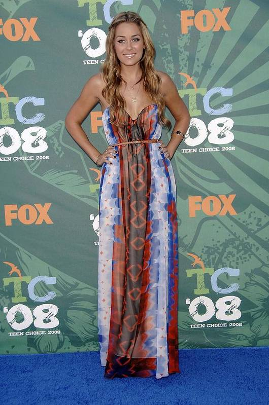 Arrivals - 2008 Teen Choice Awards Poster featuring the photograph Lauren Conrad Wearing A Dress by Everett