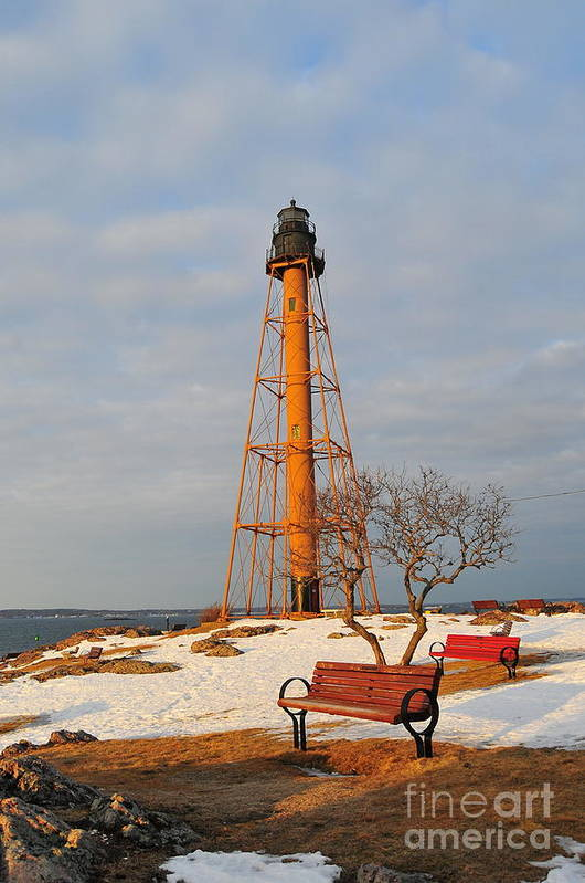 Marblehead Light Is Located On Marblehead Neck In Essex County Poster featuring the photograph Marblehead Light by Catherine Reusch Daley