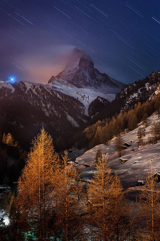 Vertical Poster featuring the photograph Matterhorn With Star Trail by Coolbiere Photograph