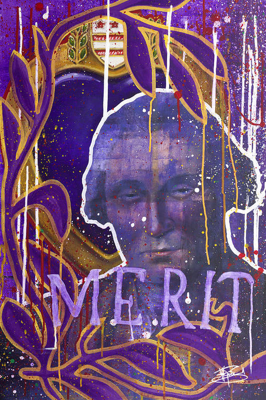 Purple Heart Paintings Poster featuring the painting Merit Of Heart by Michael Figueroa