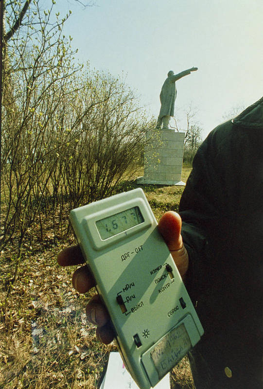 Lenin Statue Poster featuring the photograph Monitoring Fallout Levels From Chernobyl. by Ria Novosti