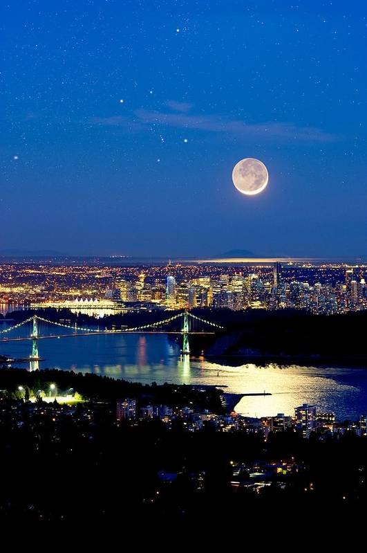 Vancouver Poster featuring the photograph Moon Over Vancouver, Time-exposure Image by David Nunuk