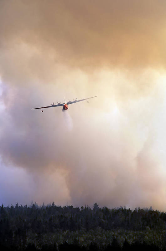 Aeroplane Poster featuring the photograph Peat Bog Fire by Kaj R. Svensson