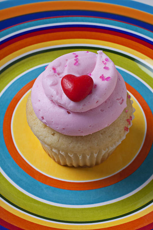 Cupcake Poster featuring the photograph Pink Cupcake With Red Heart by Garry Gay