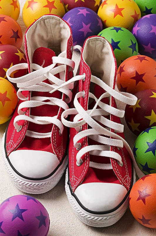 Tennis Shoes Balls Stars Round Shoestring Poster featuring the photograph Red Tennis Shoes And Balls by Garry Gay