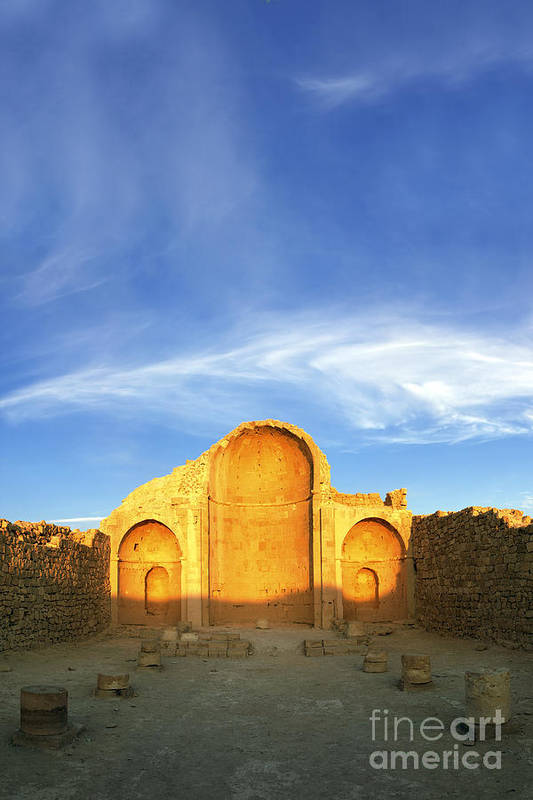 Shivta Poster featuring the photograph Ruins Of Shivta Byzantine Church by Nir Ben-Yosef