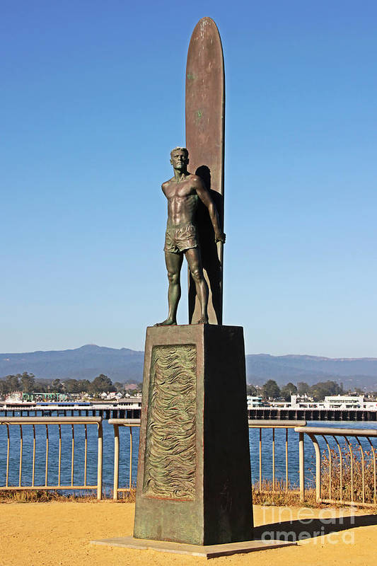 Santa Cruz Poster featuring the photograph Santa Cruz Surfer Statue by Paul Topp