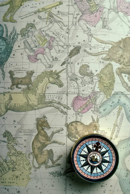 Star Map Poster featuring the photograph Star Map And Compass by Garry Gay