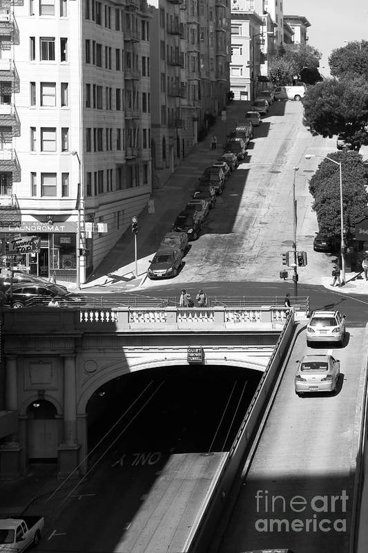 Black And White Poster featuring the photograph Stockton Street Tunnel Midday Late Summer In San Francisco . Black And White Photograph 7d7499 by Wingsdomain Art and Photography