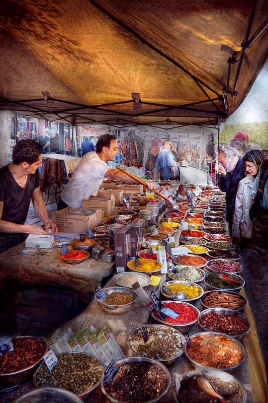 Tea Poster featuring the photograph Storefront - The Open Air Tea And Spice Market by Mike Savad