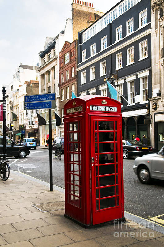 Street Poster featuring the photograph Telephone Box In London by Elena Elisseeva