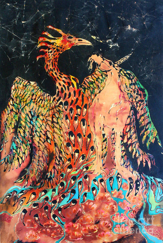 Phoenix Poster featuring the tapestry - textile The Unicorn And Phoenix Rise From The Earth by Carol Law Conklin
