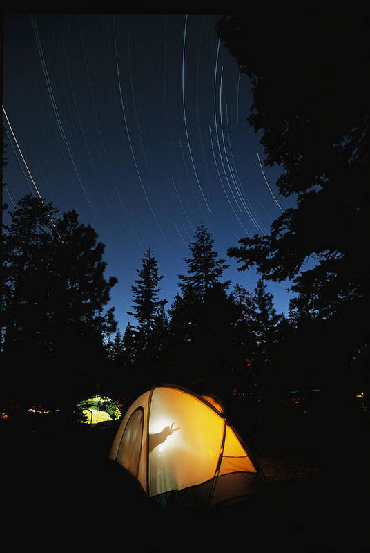 Subject Poster featuring the photograph Time Exposure Of A Campers Tent by Rich Reid