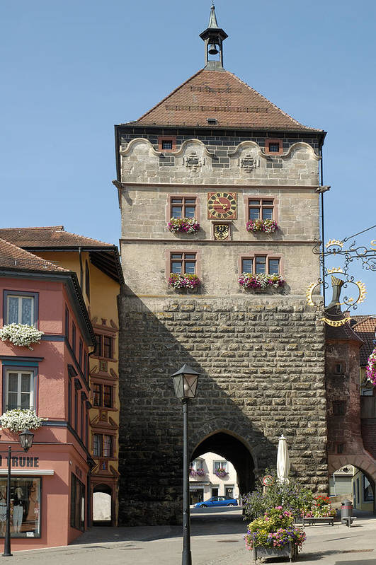 Rottweil Poster featuring the photograph Town Gate Schwarzes Tor In Rottweil Germany by Matthias Hauser
