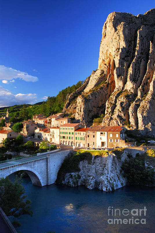 Sisteron Poster featuring the photograph Town Of Sisteron In Provence France by Elena Elisseeva