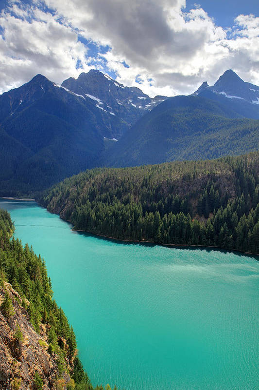 North Cascades National Park Poster featuring the photograph Turquoise Water Of Diablo Lake In The North Cascades Np by Pierre Leclerc Photography