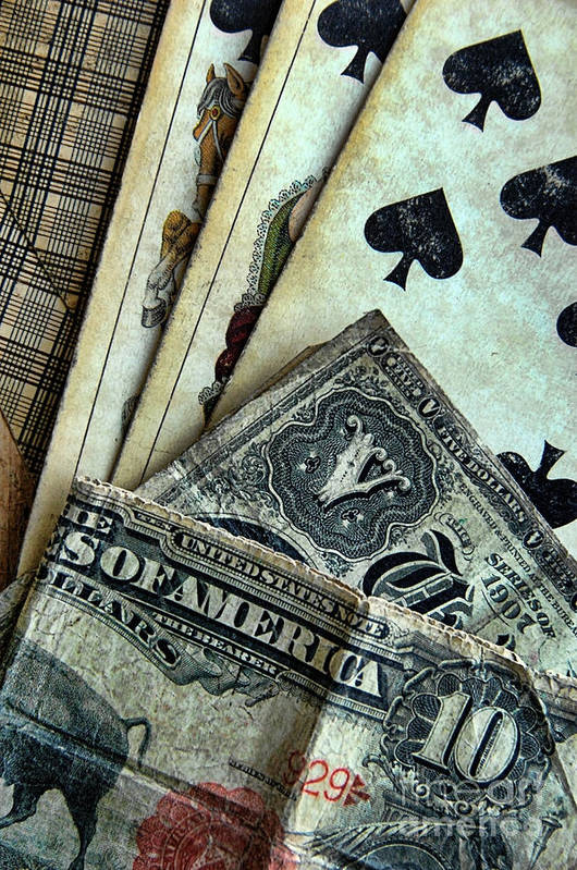 Cards Poster featuring the photograph Vintage Playing Cards And Cash by Jill Battaglia