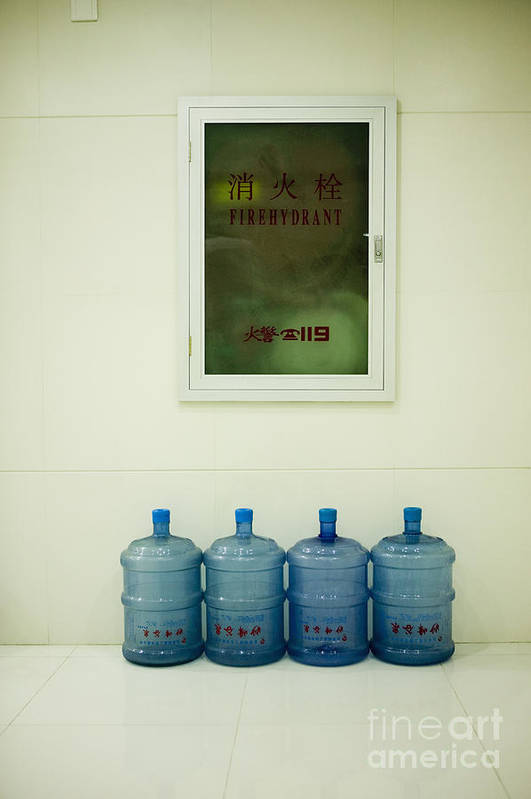 Blue Poster featuring the photograph Water Cooler Bottles And Fire Hydrant Cabinet by Andersen Ross