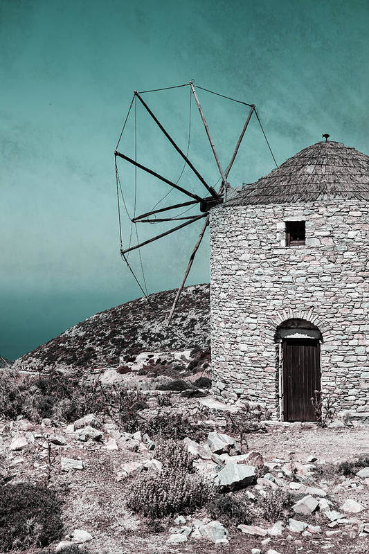 Naxos Poster featuring the photograph Windmill by Joana Kruse