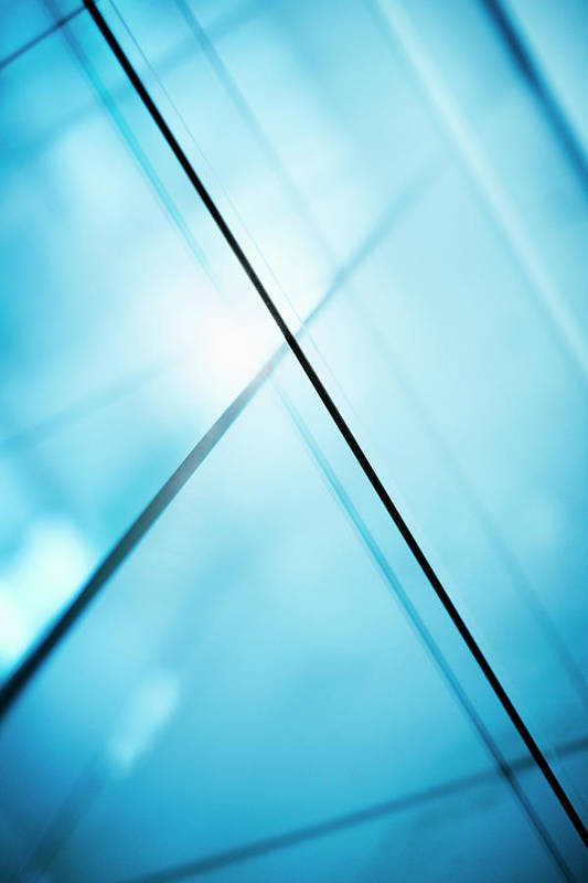 Vertical Poster featuring the photograph Abstract Intersecting Lines On A Glass Surface by Ralf Hiemisch