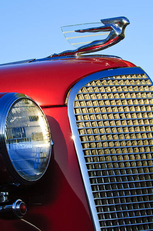 1937 Cadillac V8 Poster featuring the photograph 1937 Cadillac V8 Hood Ornament 2 by Jill Reger