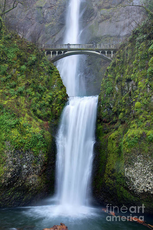 Multnomah Falls Poster featuring the photograph Multnomah Falls Waterfall Oregon Columbia River Gorge by Dustin K Ryan