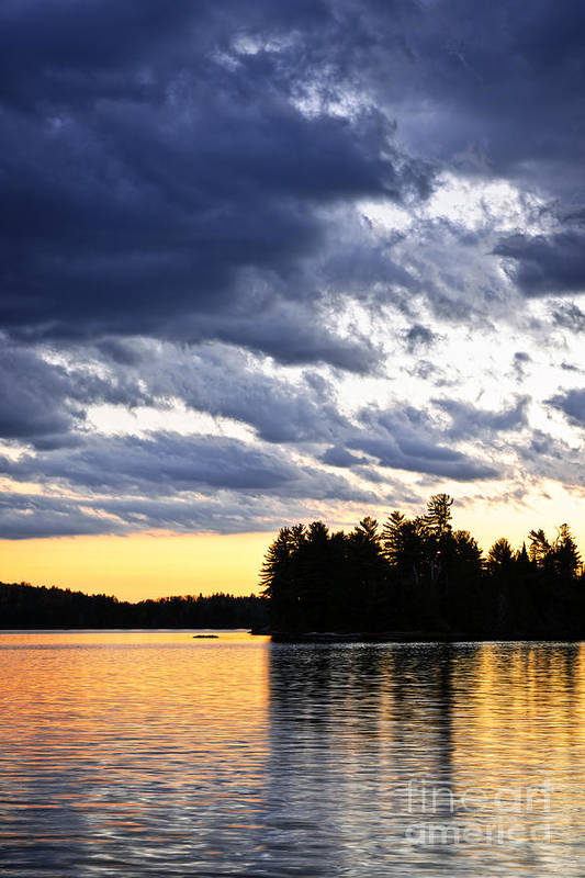 Sunset Poster featuring the photograph Dramatic Sunset At Lake by Elena Elisseeva