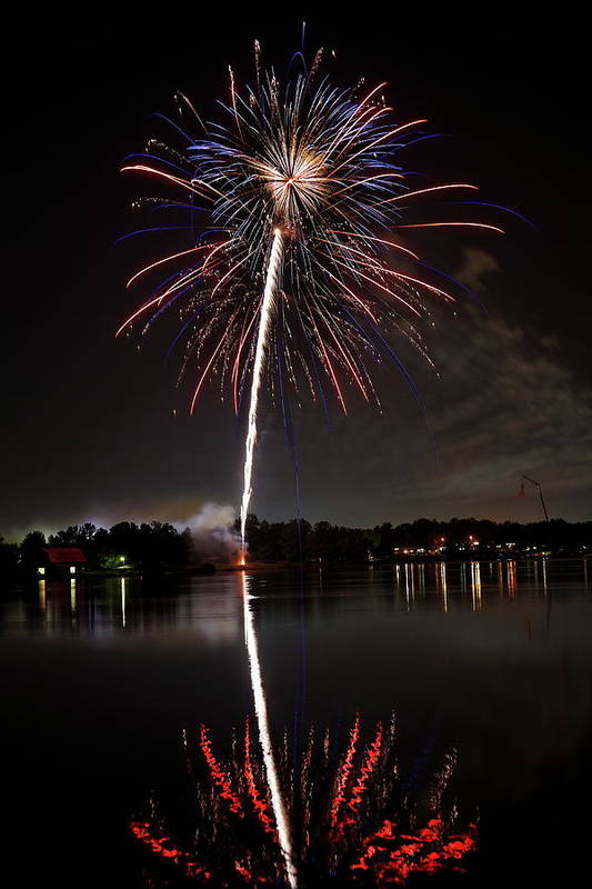 Fireworks Poster featuring the photograph 4th Of July by Lone Dakota Photography
