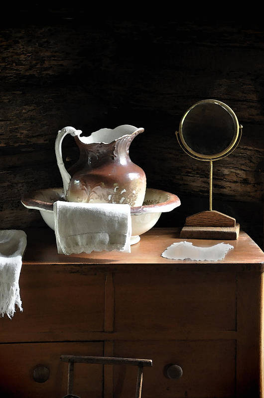 Old Carafe Poster featuring the photograph Antique Water Pitcher On Bureau by Rebecca Brittain
