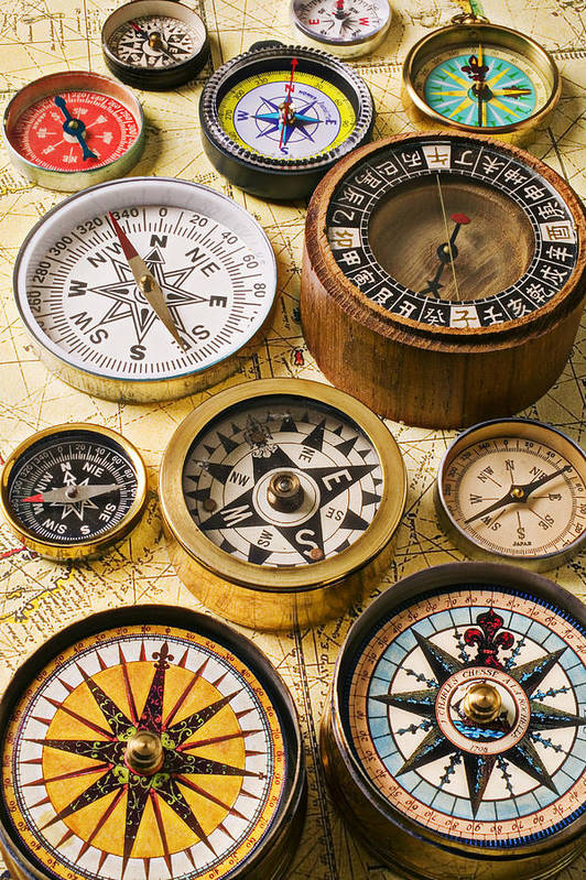 Compass Poster featuring the photograph Assorted Compasses by Garry Gay
