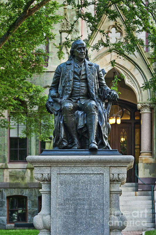 Ben Franklin Poster featuring the photograph Ben Franklin At The University Of Pennsylvania by John Greim