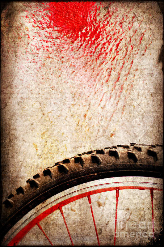 Abstract Poster featuring the photograph Bike Wheel Red Spray by Silvia Ganora