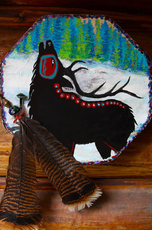 Native Poster featuring the mixed media Black Elk Drum Painting by Karon Melillo DeVega