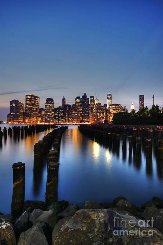 Manhattan Poster featuring the photograph Blue Manhattan by Andrew Paranavitana