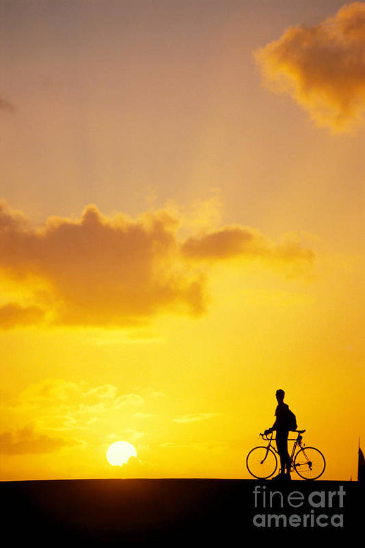Bicycle Poster featuring the photograph Break At Sunset by Joe Carini - Printscapes