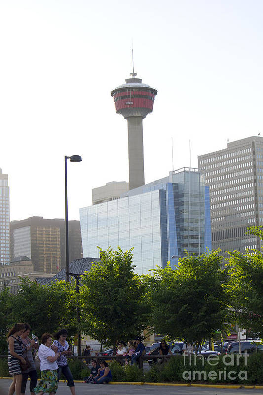 Portrait Poster featuring the photograph Calgary Tower View 2 by Donna Munro