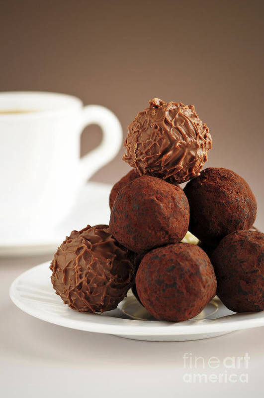 Chocolate Poster featuring the photograph Chocolate Truffles And Coffee by Elena Elisseeva