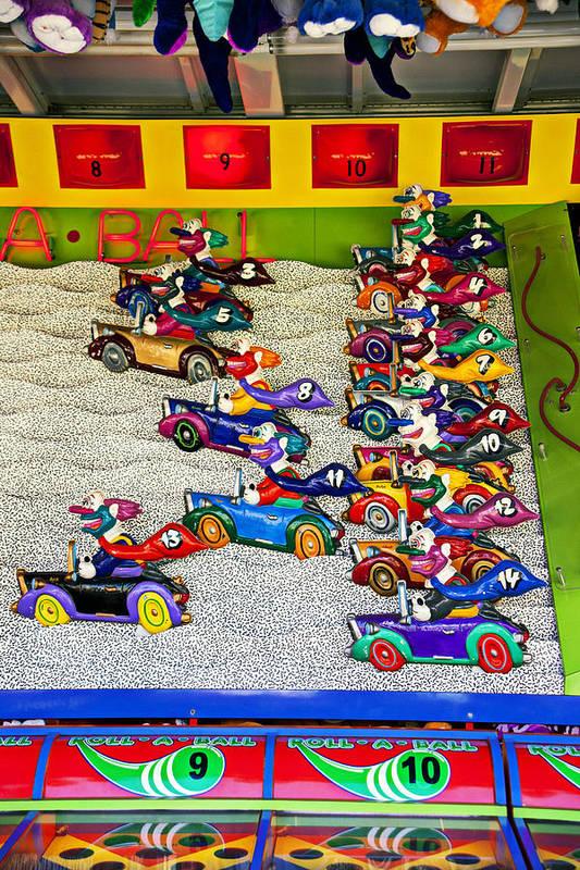 Clown Car Racing Game Carnival Poster featuring the photograph Clown Car Racing Game by Garry Gay