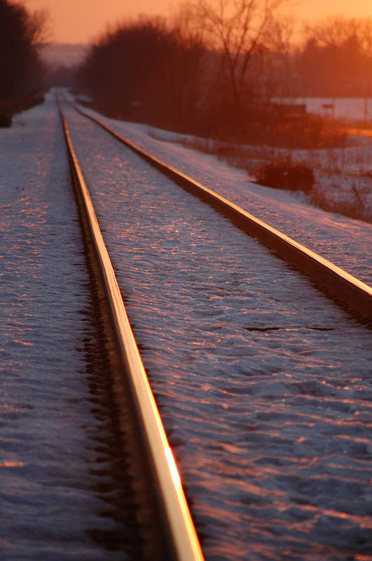 Railroda Poster featuring the photograph Cold Line Sunset by Jame Hayes