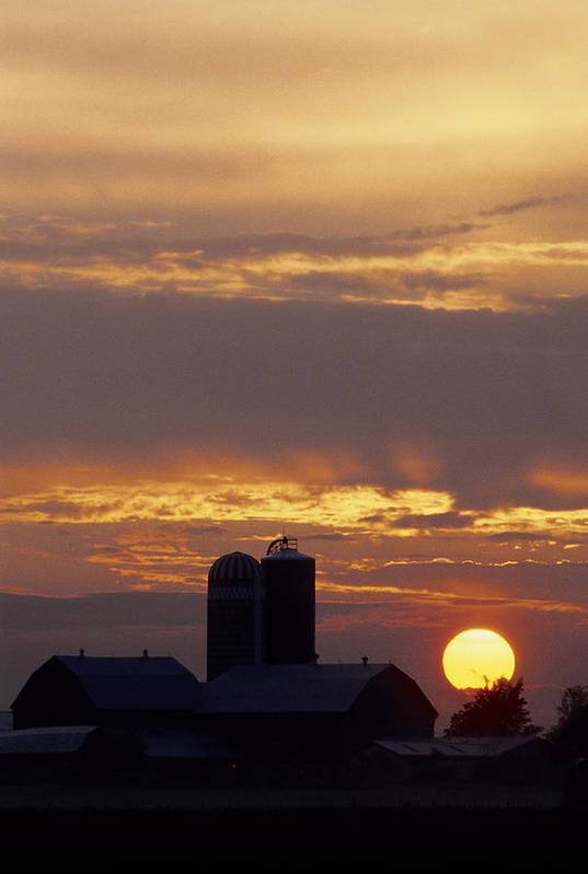 Farm Poster featuring the photograph Farm At Sunset by Steve Somerville
