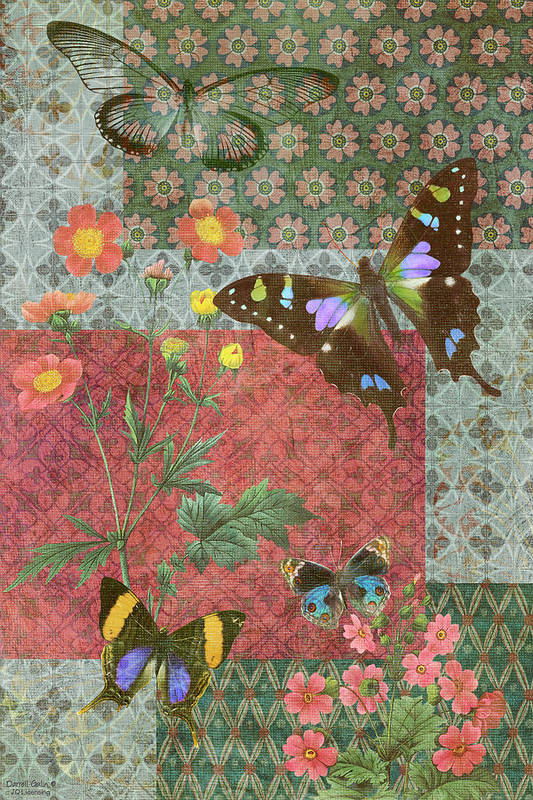 Butterfly Poster featuring the painting Four Butterfly Patch Green by JQ Licensing