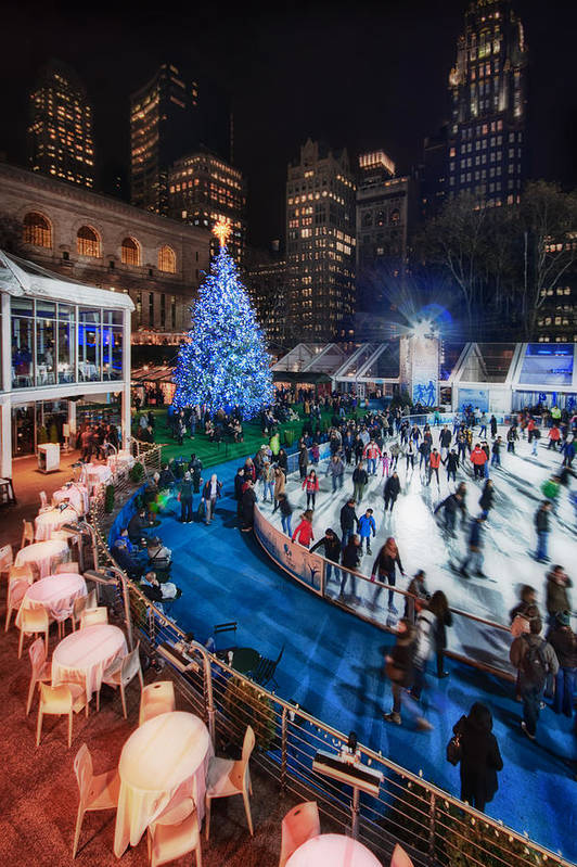 Bryant Park Poster featuring the photograph If I Could Make December Stay by Evelina Kremsdorf