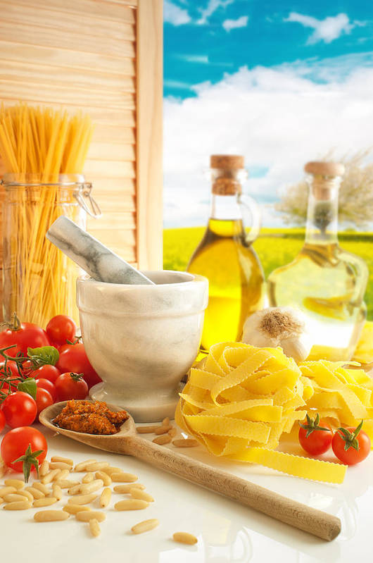 Spaghetti Poster featuring the photograph Italian Pasta In Country Kitchen by Amanda And Christopher Elwell