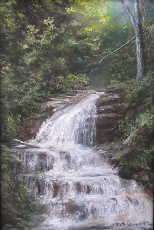 Waterfall Poster featuring the pastel Kent Falls by Jack Skinner