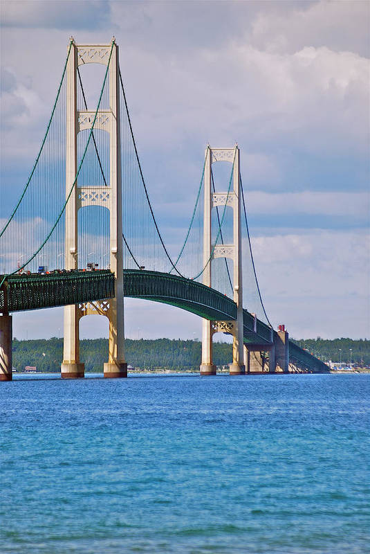 America Poster featuring the photograph Mackinac Bridge by Michael Peychich
