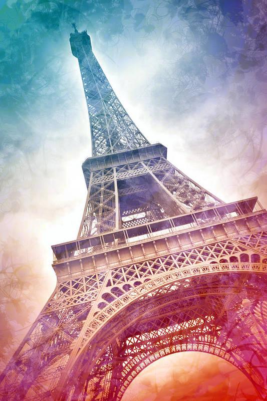 Orange Poster featuring the photograph Modern-art Eiffel Tower 21 by Melanie Viola