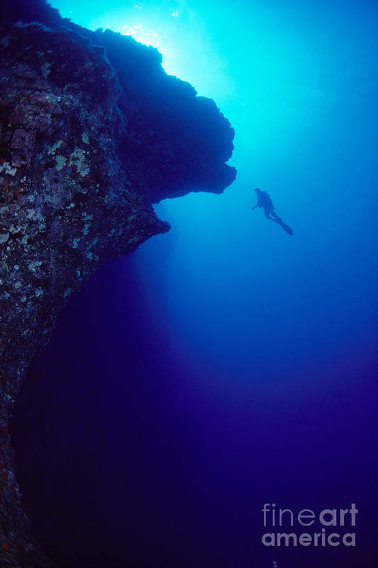 A81g Poster featuring the photograph Molokini, Diver In Distance by Dave Fleetham - Printscapes
