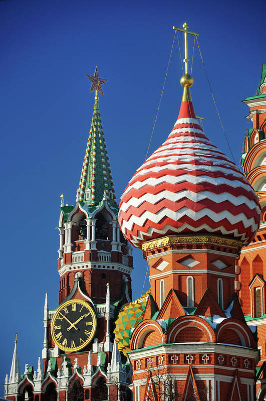 Vertical Poster featuring the photograph Moscow, Spasskaya Tower And St. Basil Cathedral by Vladimir Zakharov