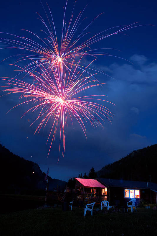 Fireworks Poster featuring the photograph Mountain Fireworks Landscape by James BO Insogna